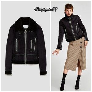 NWT, ZARA, Faux Shearling Short Moto Jacket